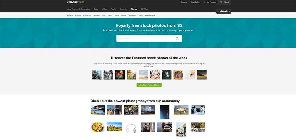 PhotoDune stock photo sites