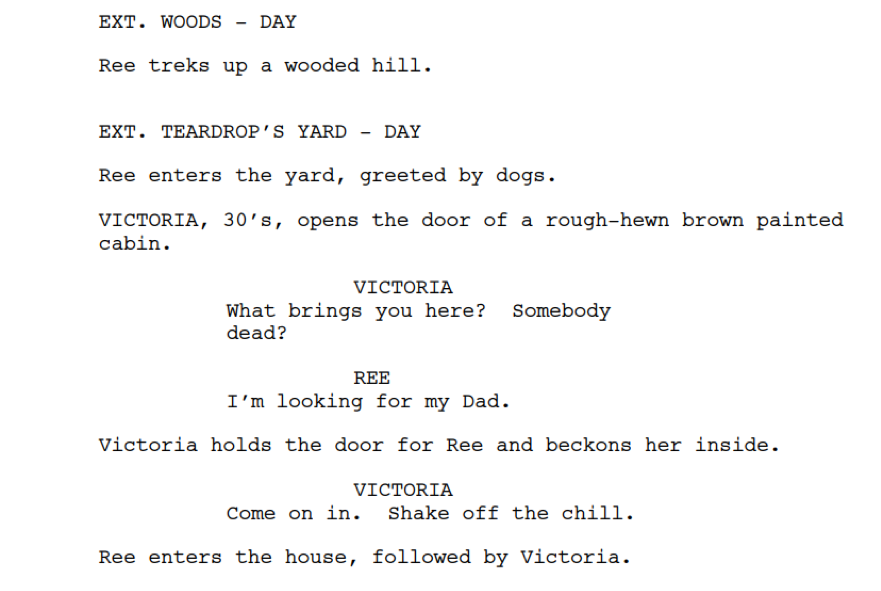 Screenplay format scene headings