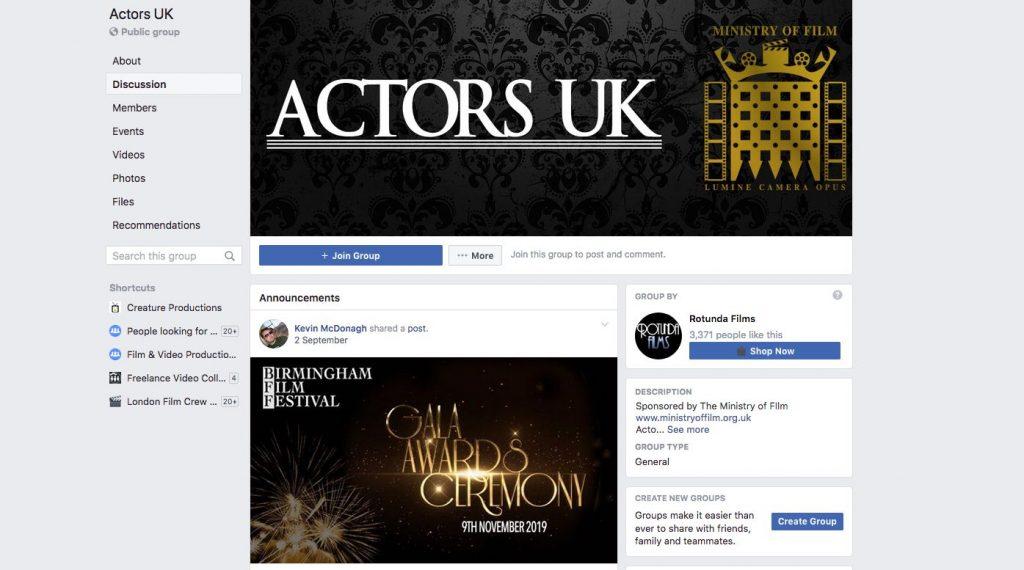 Actors UK Facebook Group