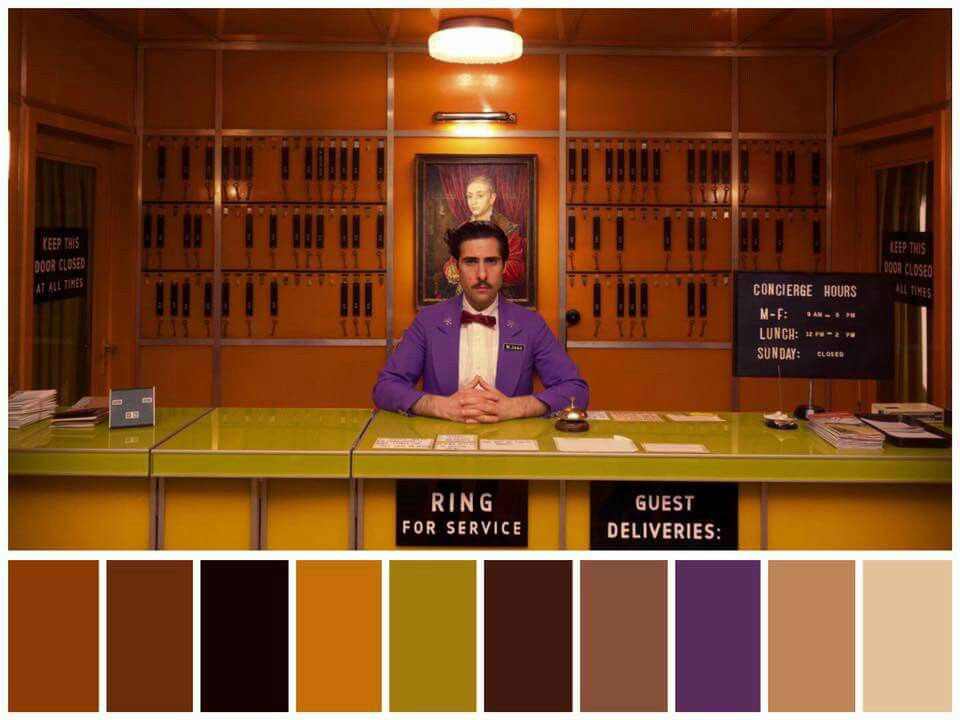 Colour palette for Grand Budapest Hotel