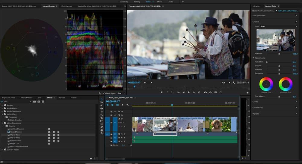 Adobe Premiere Pro Lumetri screenshot