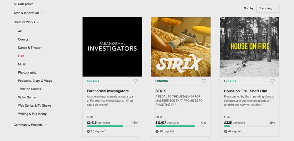 Indiegogo film categories