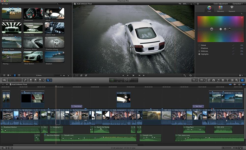 Final Cut Pro X Color Board screenshot