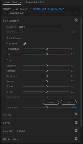 Adobe Lumetri Color settings