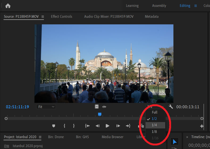Playback resolution edit footage
