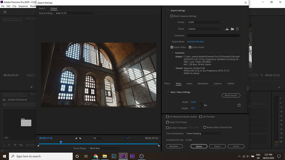 Premiere Pro export settings window