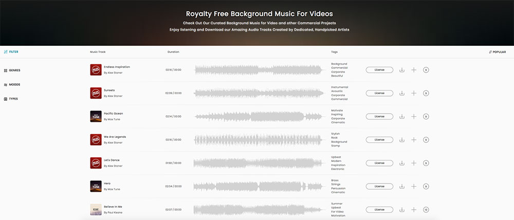 Browse royalty free music