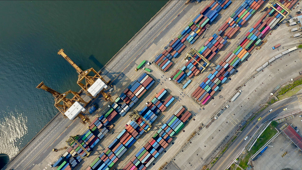 shipping containers birds eye view