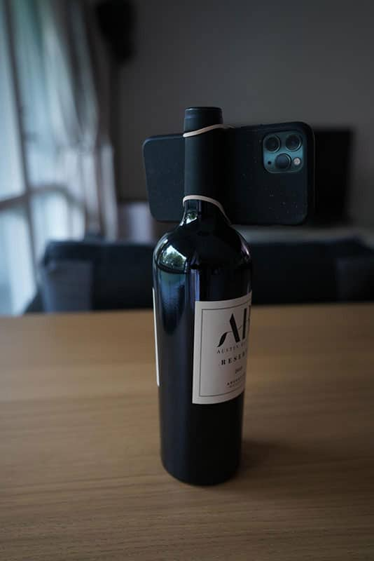 bottle of wine camera stand