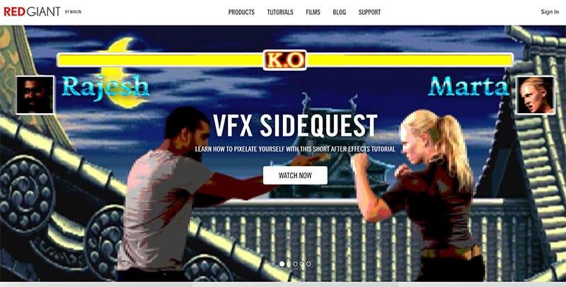 RedGiant plugins website screenshot