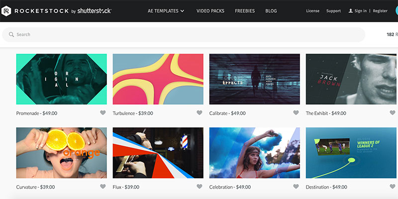 Rocketstock motion graphics website screenshot