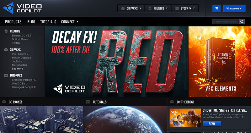 Video Copilot website screenshot