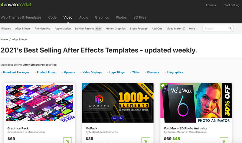 Videohive after effects plugins sites