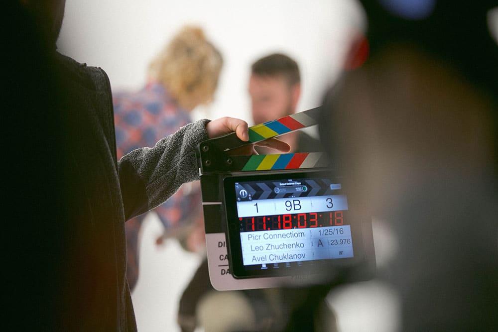 digital clapperboard used on tv set