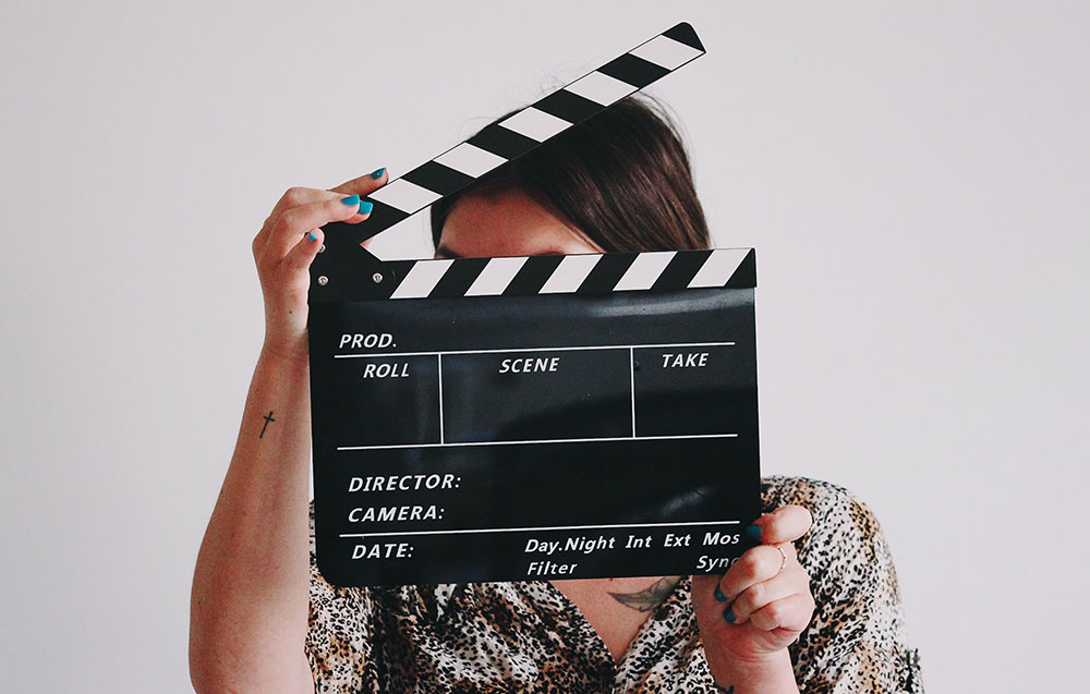 Person holding a film slate